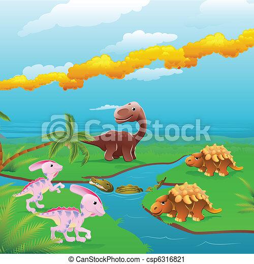 rysunek, dinozaury, scene. - csp6316821