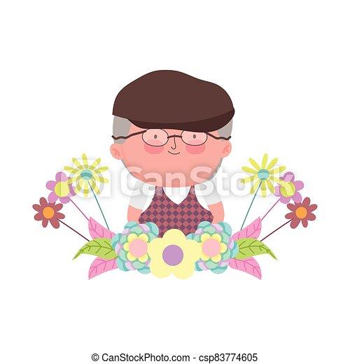 rysunek, liście, kwiaty, sprytny, dzień, dziadkowie, ozdoba, litera, dziadek - csp83774605