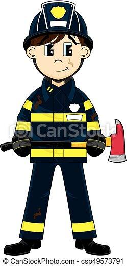 Rysunek, strażak. Sprytny, strażak, -, firefighter, ilustracja ...