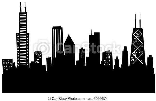 rysunek, sylwetka na tle nieba, chicago - csp6099674