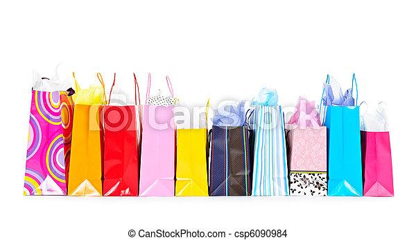 säcke, shoppen, reihe - csp6090984