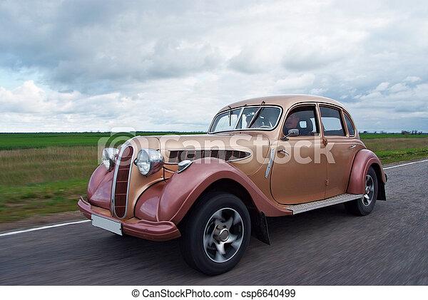 sällsynt, årgång bil, längs, hetsa, väg - csp6640499