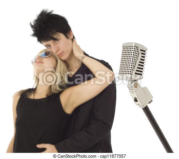 sänger, mikrophon, retro, hintergrund - csp11877057
