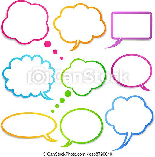 sätta, anförande, bubblar, vektor - csp8790649