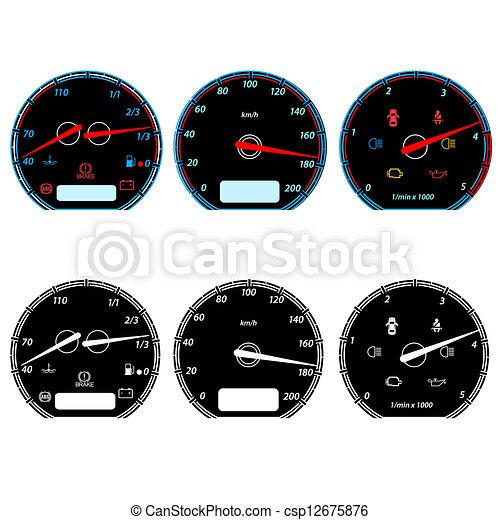 sätta, bil, illustration, vektor, hastighetsmätare, tävlings-, design. - csp12675876