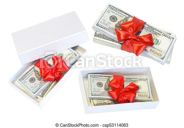 sätta, dollar, isolerat, bog, bakgrund, vit röd - csp53114063