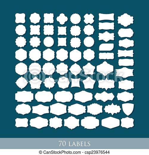sätta, etikett, formar, vektor, design, retro, 70 - csp23976544