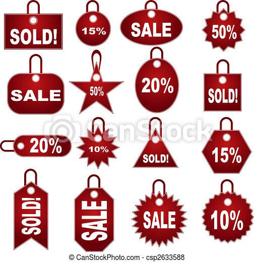 sätta, etikett, prissättning, berätta - csp2633588