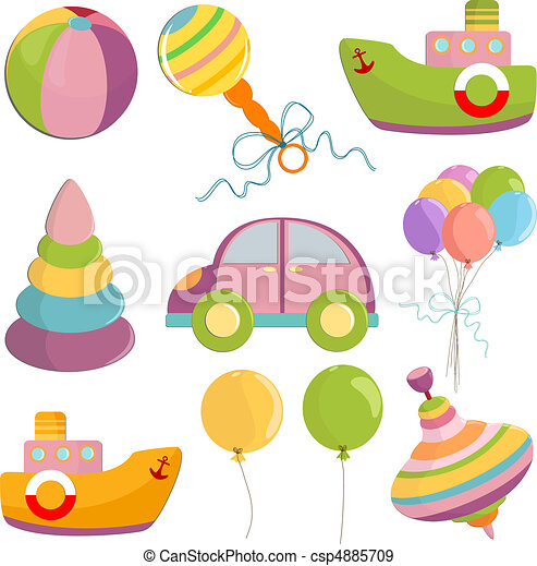 sätta, illustration, toys - csp4885709