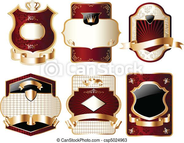 sätta, inbillning, guld, etikett - csp5024963