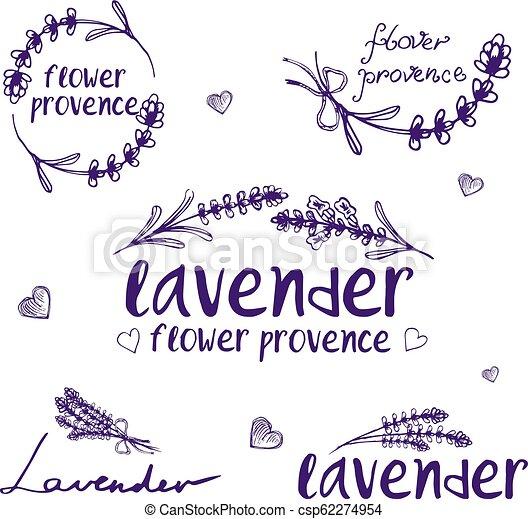 sätta, lavender., abstrakt, illustration, vektor, design, mall, logo, ikon - csp62274954