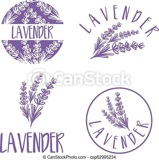 sätta, lavender., abstrakt, illustration, vektor, design, mall, logo, ikon - csp62995234