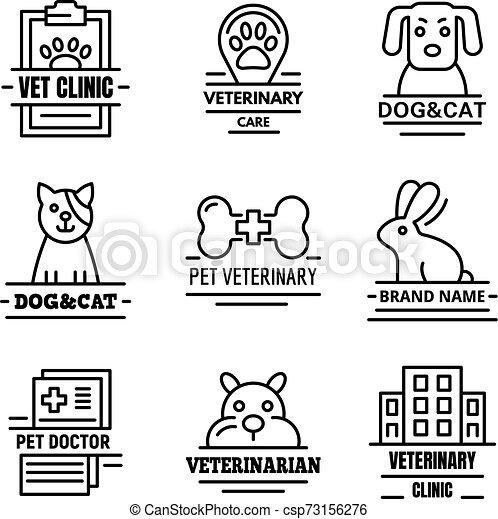 sätta, logo, stil, veterinär, skissera - csp73156276