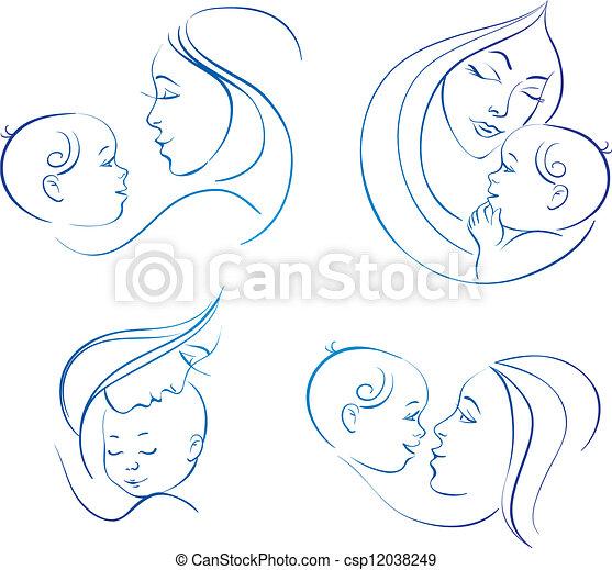 sätta, silhuett, linjär, mor, illustrationer, baby. - csp12038249