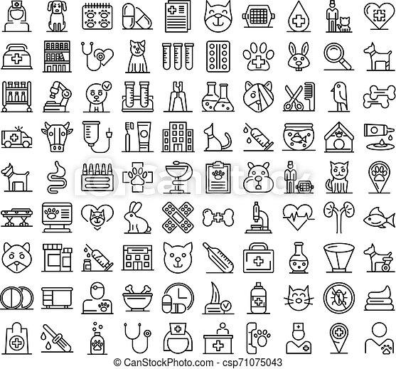 sätta, stil, veterinär, skissera, ikonen - csp71075043