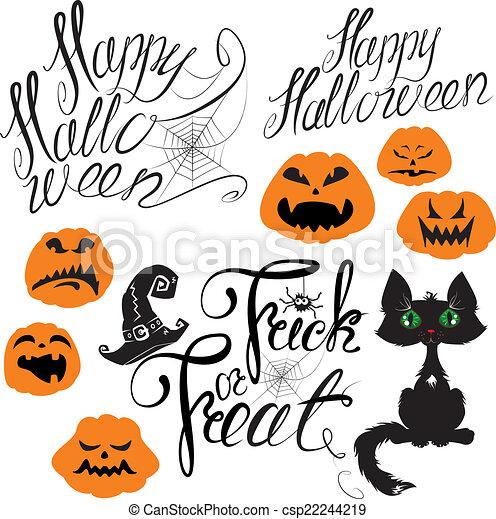 sätta, terri, pumpa, -, spindel, elementara, katt, halloween, annat - csp22244219