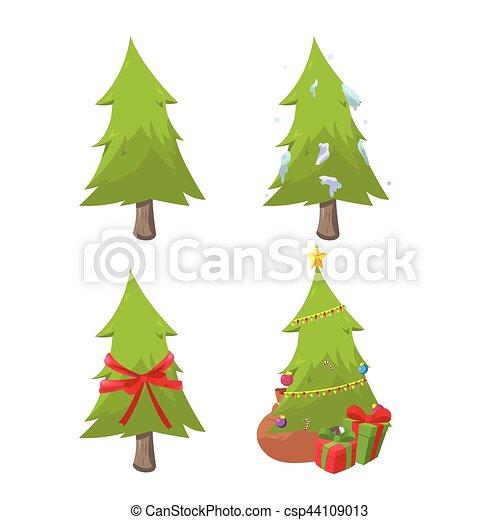 sätta, träd, kollektion, vektor, design, jul - csp44109013