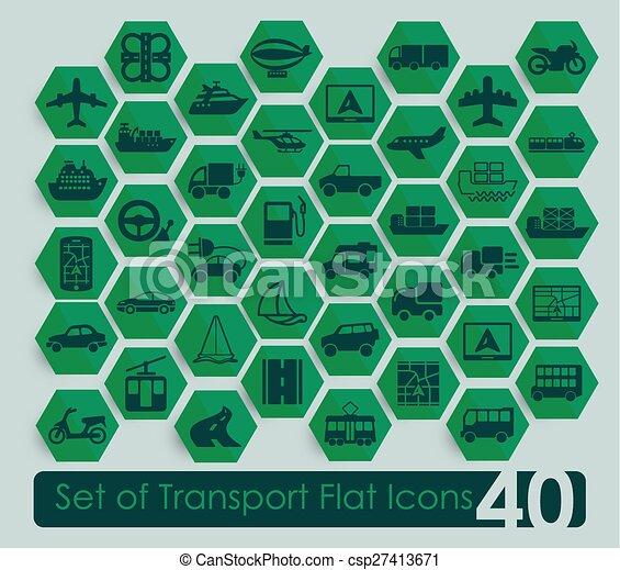 sätta, transport, ikonen - csp27413671