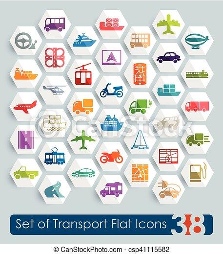 sätta, transport, ikonen - csp41115582