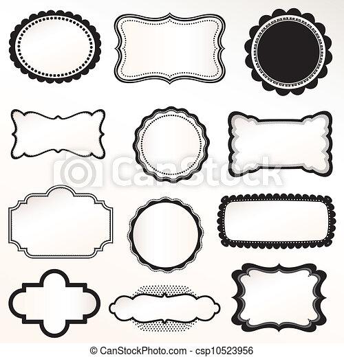 sätta, vektor, ram, årgång, ornamental - csp10523956