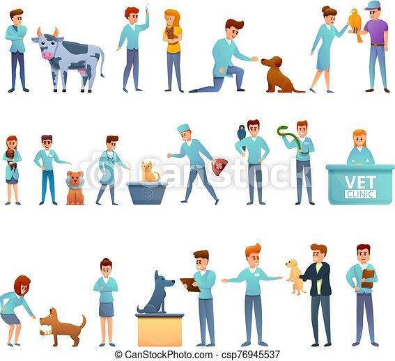 sätta, veterinär, stil, tecknad film, ikonen - csp76945537