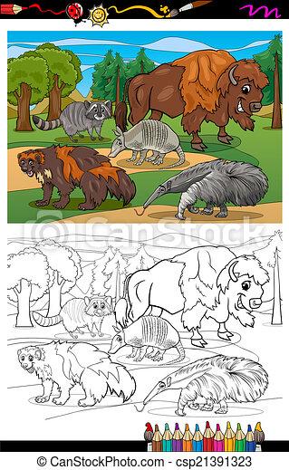 Säugetiere, färbung, tiere, karikatur, buch. Lustiges,... Vektor ...