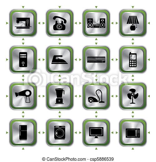 Sæt, elektriske apparater, iconerne. Vektor, illustration.