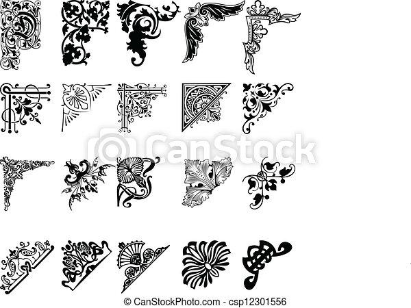 sæt, farve, tyve, corners., æn, elementer, design. - csp12301556