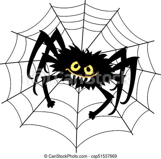 Séance Araignés Vecteur Toile Araignée Noir Dessin Animé