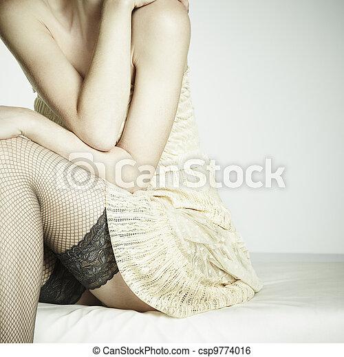 séance femme, photo, jeune, mode, sofa, sexuel - csp9774016