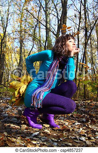 séance, feuilles, jeune, automne, automne, girl - csp4857237