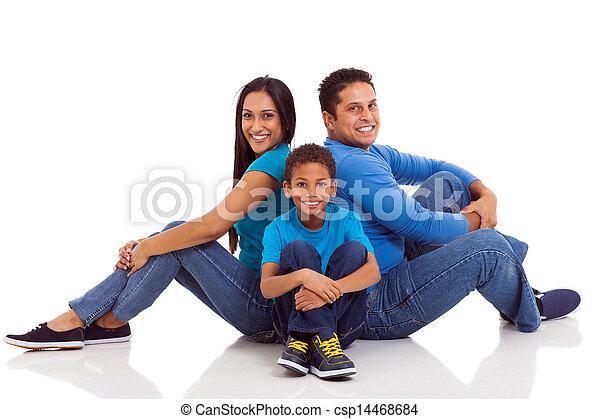 séance, indien, famille, plancher - csp14468684