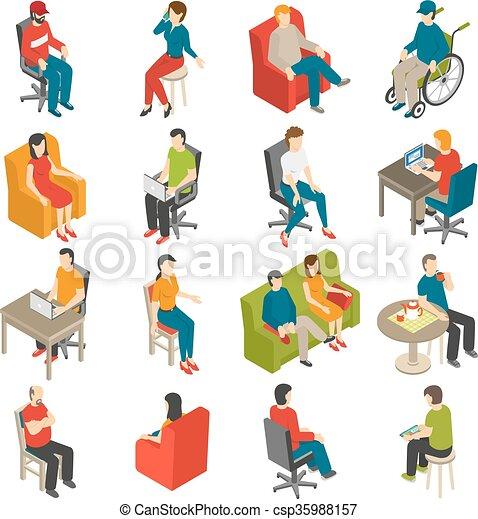 séance, isométrique, ensemble, icône, gens - csp35988157