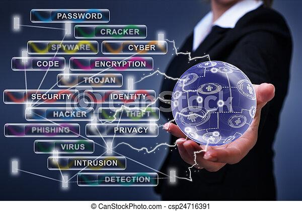 sécurité, concept, gestion réseau, cyber, social - csp24716391