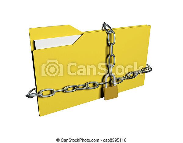 sécurité, données, concept., dossier, chaîne, informatique, padlock. - csp8395116