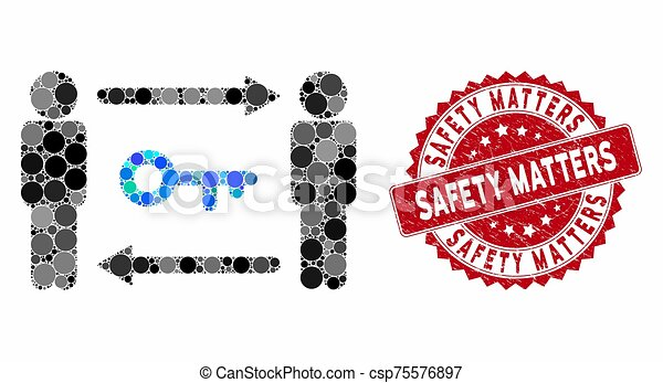 sécurité, grunge, timbre, collage, clã©, compter, échange, personnes - csp75576897