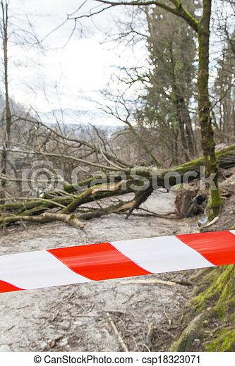 sécurité, route, endommagé, ruban - csp18323071