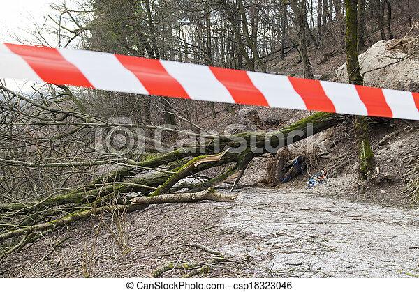 sécurité, route, endommagé, ruban - csp18323046