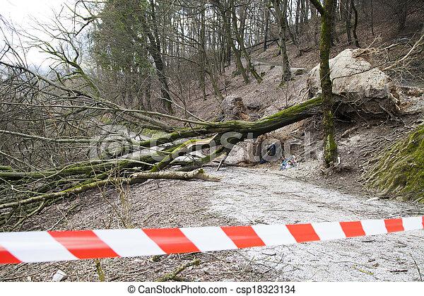 sécurité, route, endommagé, ruban - csp18323134