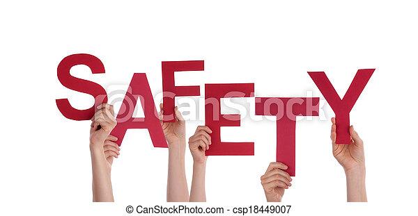 sécurité, tenant mains - csp18449007