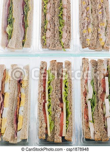 sélection, loin, plastique, sandwichs, triangles, prendre - csp1878948