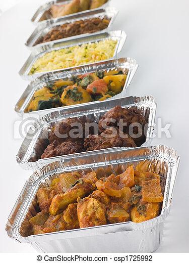 sélection, plats, loin, fleuret, indien, prendre, récipients - csp1725992