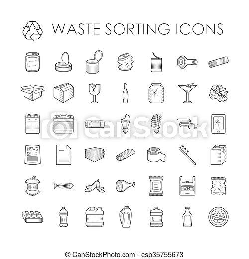 séparation, déchets, apparenté, contour, tri, ensemble, gaspillage, icons., recyclage - csp35755673
