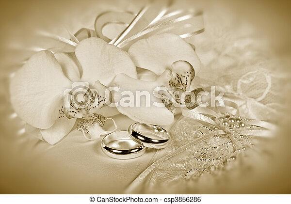 sépia, mariage - csp3856286
