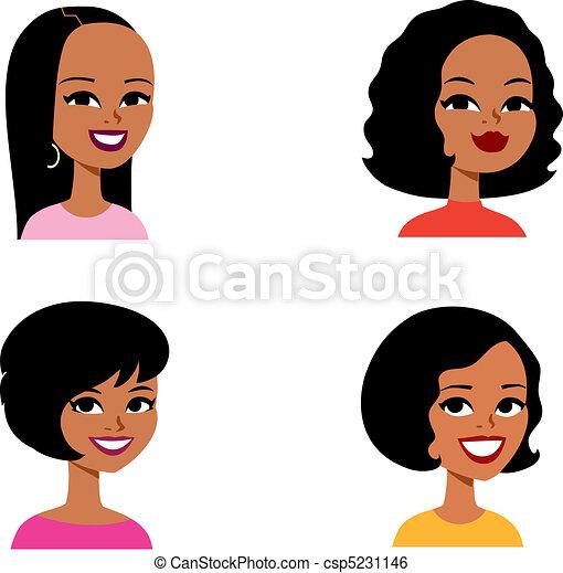 série, avatar, dessin animé, femme, africaine - csp5231146