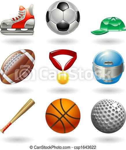 série, ensemble, sports, icône, brillant - csp1643622