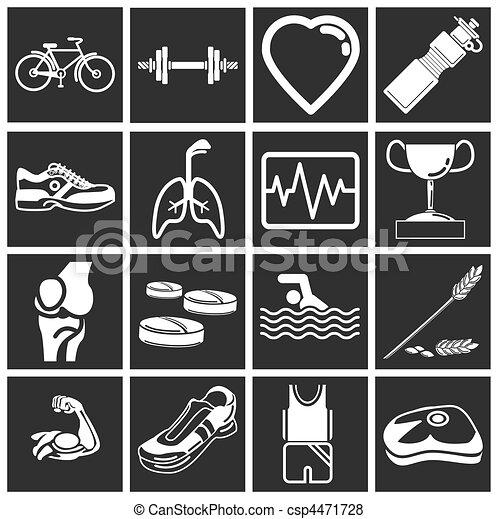 série, saúde, jogo, ícone, condicão física - csp4471728
