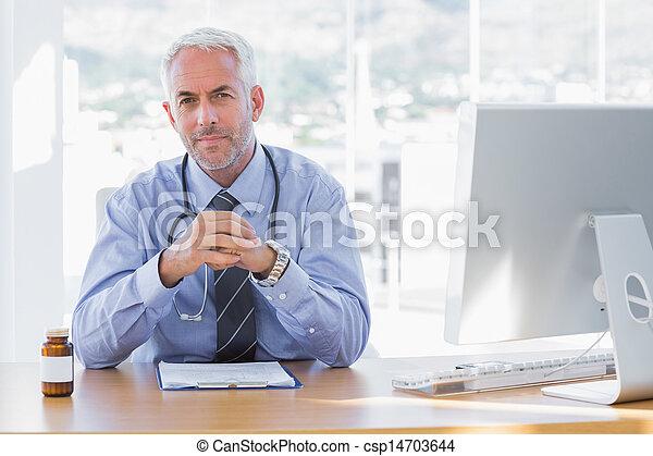 sérieux, bureau, sien, docteur, séance - csp14703644