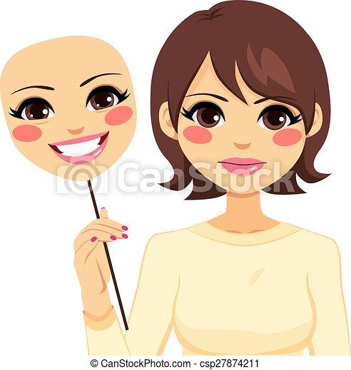 sérieux, femme, masque, tenue, heureux - csp27874211