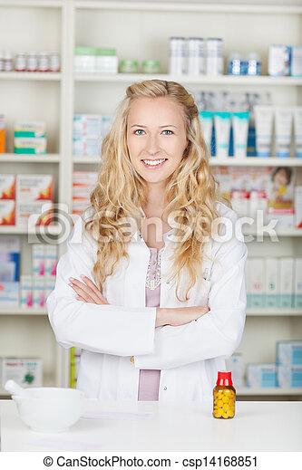 sérieux, femme, pharmacien, chimiste - csp14168851